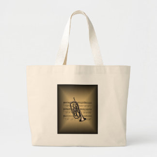 Cornet With Sheet Music Background Large Tote Bag