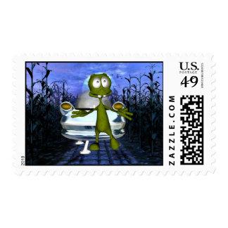 Cornfield Alien & Spaceship Postage 1Med