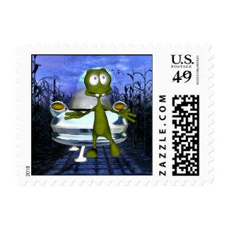 Cornfield Alien & Spaceship Postage 1Sm