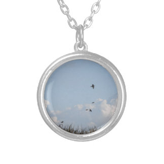 Cornfield and swallows silver plated necklace