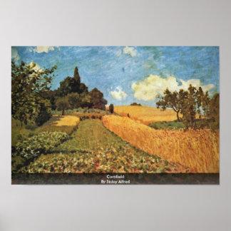 Cornfield By Sisley Alfred Print