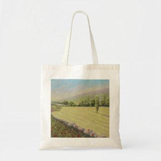 Cornfield near Eymet, Dordogne, France in Pastel Budget Tote Bag