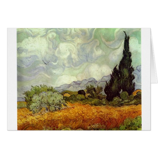 Cornfield With Cypress Trees Card