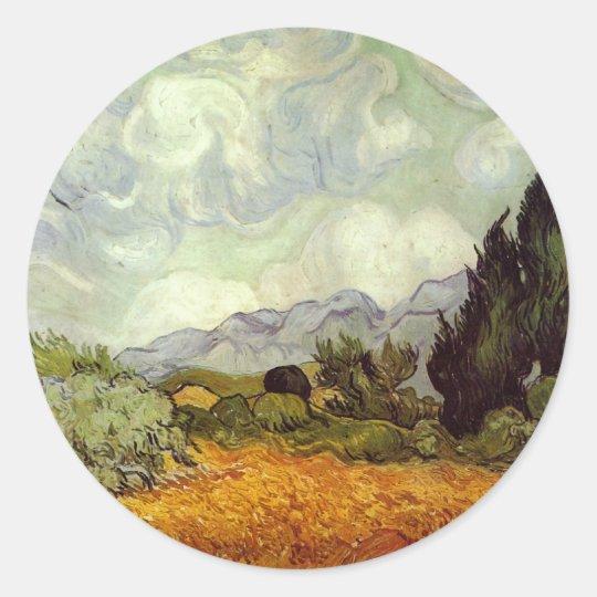 Cornfield With Cypress Trees Classic Round Sticker
