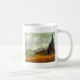 Cornfield With Cypress Trees Coffee Mug