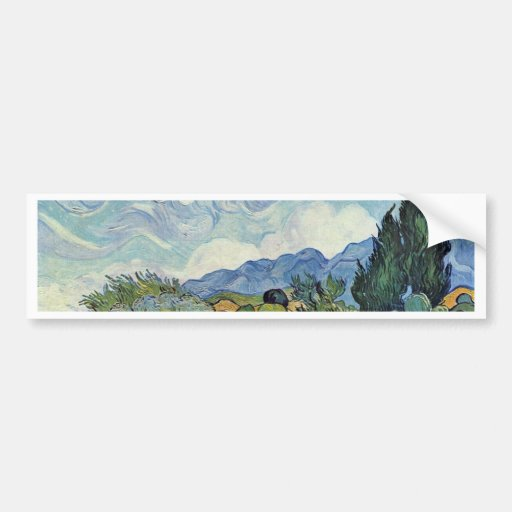Cornfield With Cypresses By Vincent Van Gogh Car Bumper Sticker
