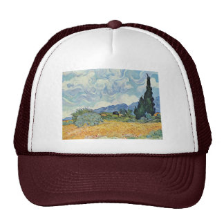 Cornfield With Cypresses By Vincent Van Gogh Trucker Hat