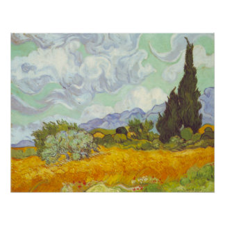 Cornfield With Cypresses Poster