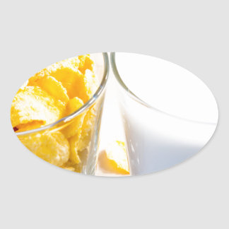 Cornflakes and milk for breakfast oval sticker