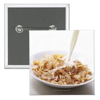 Cornflakes and milk pinback button