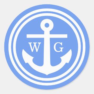 Cornflower Blue Anchor Wedding Seals Favor Tags Classic Round Sticker