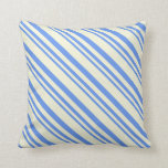 [ Thumbnail: Cornflower Blue and Beige Lines/Stripes Pattern Throw Pillow ]