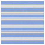 [ Thumbnail: Cornflower Blue and Beige Striped/Lined Pattern Fabric ]