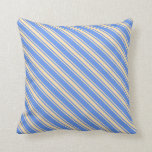 [ Thumbnail: Cornflower Blue and Beige Striped/Lined Pattern Throw Pillow ]