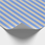 [ Thumbnail: Cornflower Blue and Beige Striped/Lined Pattern Wrapping Paper ]