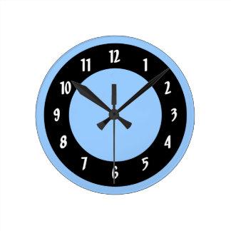 Cornflower Blue and Black Circles Clock