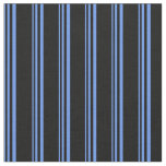 [ Thumbnail: Cornflower Blue and Black Stripes/Lines Pattern Fabric ]