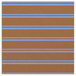 [ Thumbnail: Cornflower Blue and Brown Colored Pattern Fabric ]