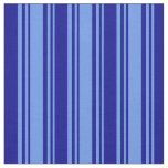 [ Thumbnail: Cornflower Blue and Dark Blue Colored Lines Fabric ]