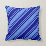 [ Thumbnail: Cornflower Blue and Dark Blue Colored Lines Pillow ]