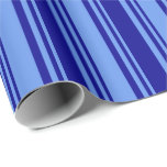 [ Thumbnail: Cornflower Blue and Dark Blue Colored Lines Wrapping Paper ]