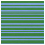 [ Thumbnail: Cornflower Blue and Dark Green Lines Fabric ]