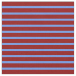 [ Thumbnail: Cornflower Blue and Dark Red Lined Pattern Fabric ]