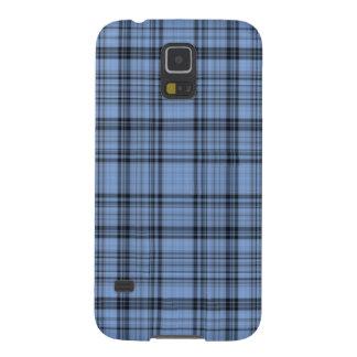 Cornflower Blue and Grey Plaid Galaxy S5 Cover