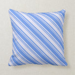 [ Thumbnail: Cornflower Blue and Lavender Pattern of Stripes Throw Pillow ]