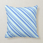 [ Thumbnail: Cornflower Blue and Light Cyan Colored Pattern Throw Pillow ]