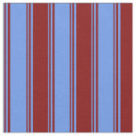 [ Thumbnail: Cornflower Blue and Maroon Colored Stripes Fabric ]