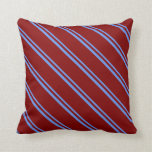 [ Thumbnail: Cornflower Blue and Maroon Pattern Throw Pillow ]