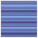 [ Thumbnail: Cornflower Blue and Midnight Blue Colored Lines Fabric ]