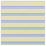 [ Thumbnail: Cornflower Blue and Tan Colored Striped Pattern Fabric ]