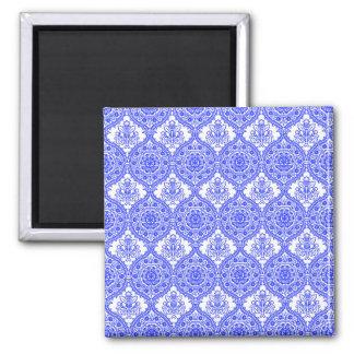 Cornflower Blue and White Antique Decor 2 Inch Square Magnet