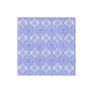 Cornflower Blue and White Antique Decor Stone Magnet