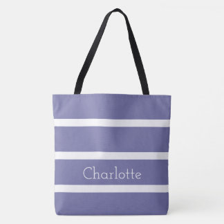 Cornflower Blue and White Stripes Personalized Tote Bag