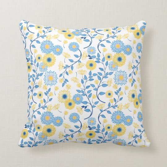 Cornflower Blue And Yellow Fl Pattern Throw Pillow