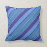 [ Thumbnail: Cornflower Blue, Blue, and Dark Slate Blue Lines Throw Pillow ]