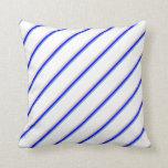 [ Thumbnail: Cornflower Blue, Blue, Tan & White Colored Lines Throw Pillow ]