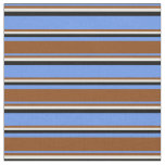 [ Thumbnail: Cornflower Blue, Brown, Light Yellow, and Black Fabric ]