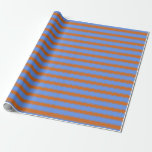 [ Thumbnail: Cornflower Blue & Chocolate Colored Pattern Wrapping Paper ]