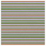 [ Thumbnail: Cornflower Blue, Chocolate, Dark Green & Pink Fabric ]