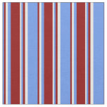 [ Thumbnail: Cornflower Blue, Dark Red, and White Stripes Fabric ]