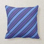 [ Thumbnail: Cornflower Blue, Dark Slate Blue, and Black Lines Throw Pillow ]