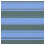 [ Thumbnail: Cornflower Blue & Dark Slate Gray Colored Stripes Fabric ]