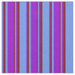 [ Thumbnail: Cornflower Blue, Dark Violet, and Maroon Stripes Fabric ]
