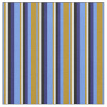 [ Thumbnail: Cornflower Blue, Goldenrod, Cyan, Black & Blue Fabric ]