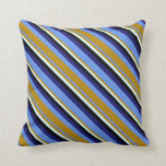 [ Thumbnail: Cornflower Blue, Goldenrod, Cyan, Black & Blue Throw Pillow ]