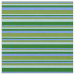[ Thumbnail: Cornflower Blue, Green, Light Blue & Dark Green Fabric ]